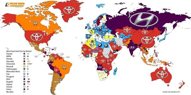 OkGoogle! Какие автомобильные марки вмире ищут впервую очередь?