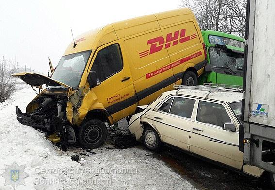 НаВолыни столкнулись 5 авто: VW заехал накрышу «Славуты»