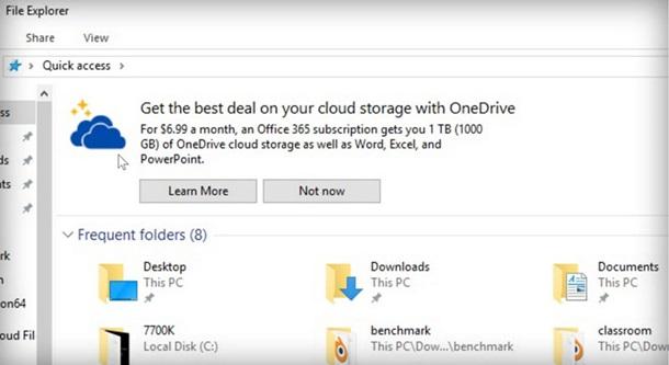 Microsoft встроила в«Проводник» рекламу OneDrive