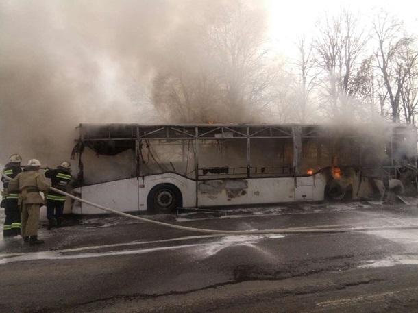 ВВинницкой области зажегся автобус впериод движения
