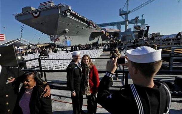 В США спущен на воду новейший атомный авианосец Джеральд Форд