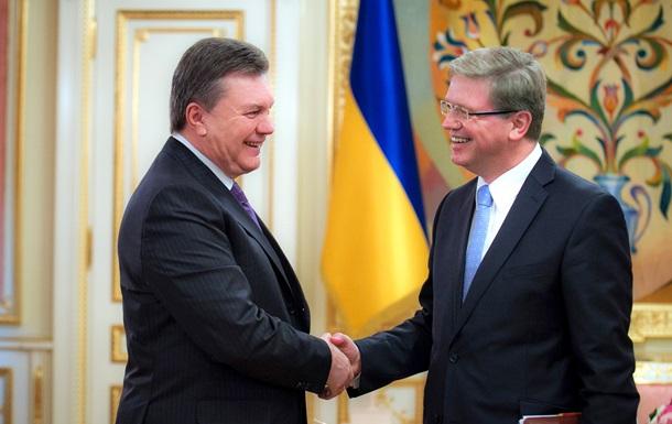 Фюле  вдохновился решительностью  Януковича и Рыбака в принятии законов для евроинтеграции