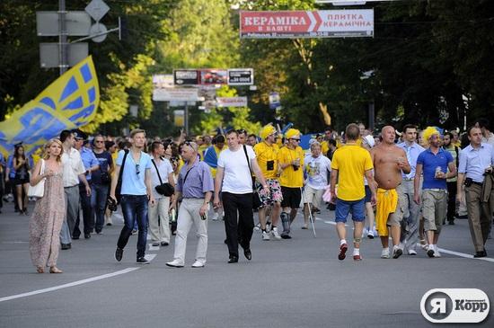 Марш-парад болельщиков сборной Швеции
