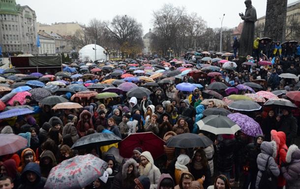 Во Львове проходят многочисленные акции протеста