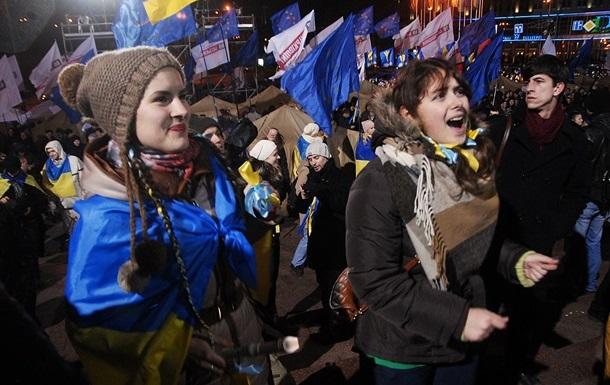 На объединенный Евромайдан в Киеве прибыли студенты Западной Украины