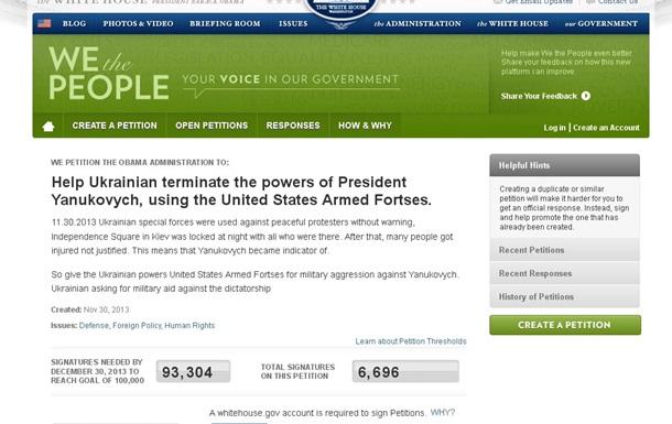 На сайте Белого дома идет голосование за ввод войск в Украину