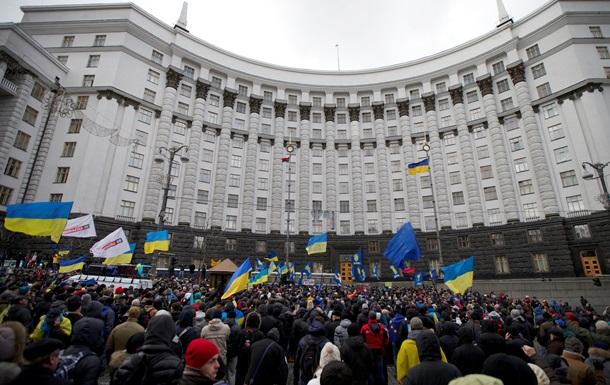 Новости Киева - Евромайдан - Кабмин - протесты - Протестующие блокируют Кабмин, один из входов в здание перекрыт милицией