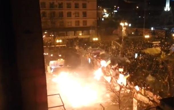Как БТРы пытались прорвать баррикады на Майдане