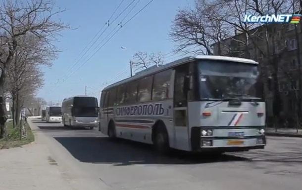 В Керчи замечена большая колонна пассажирских автобусов и военной техники