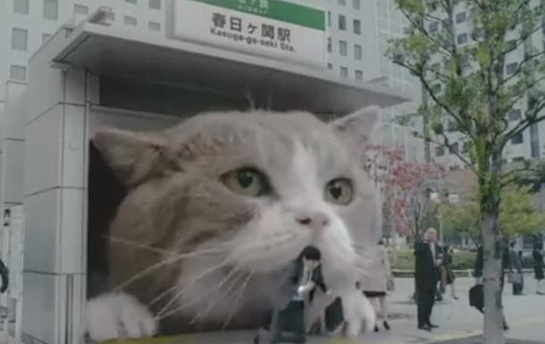 Кот-Годзилла шагает по Токио: оригинальная реклама жвачки