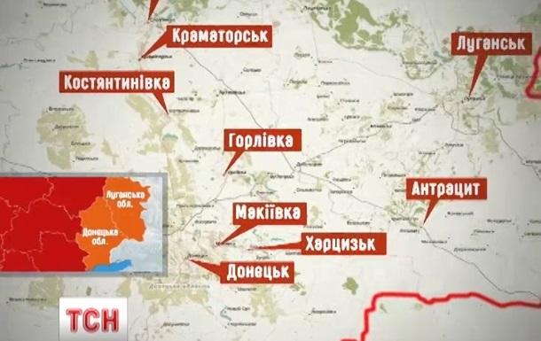 В Сети появилась карта  горячих точек  на востоке Украины