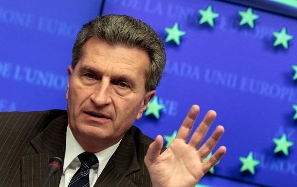 Эттингер предлагает провести новые переговоры по газу до середины июля