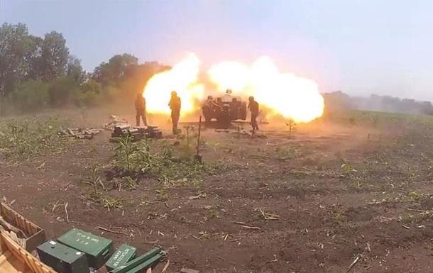 Огонь артиллерии под Славянском - видео
