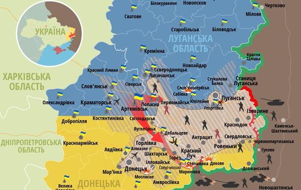 Карта АТО - бои на востоке Украины