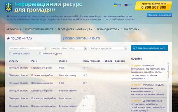 В Украине появился сайт по поиску жилья для переселенцев