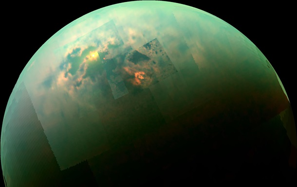 Зонд Cassini заснял отражение Солнца на поверхности морей Титана