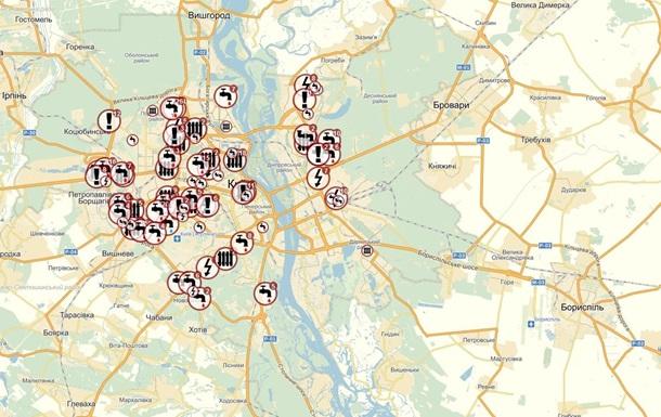 Появилась интерактивная карта отключений воды, света и отопления по Киеву