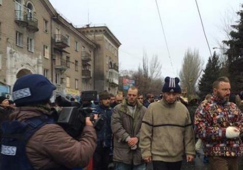 Полное видео с парада пленных украинцев в Донецке. 22.01.2014