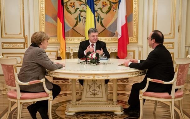 Порошенко, Меркель и Олланд призвали к немедленному перемирию на Донбассе