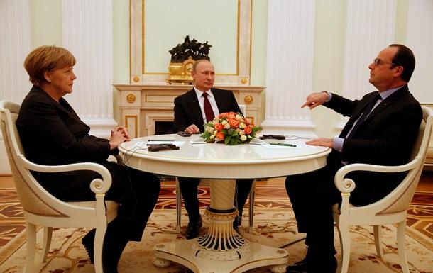 Путин, Олланд и Меркель в воскресенье проведут телефонный разговор