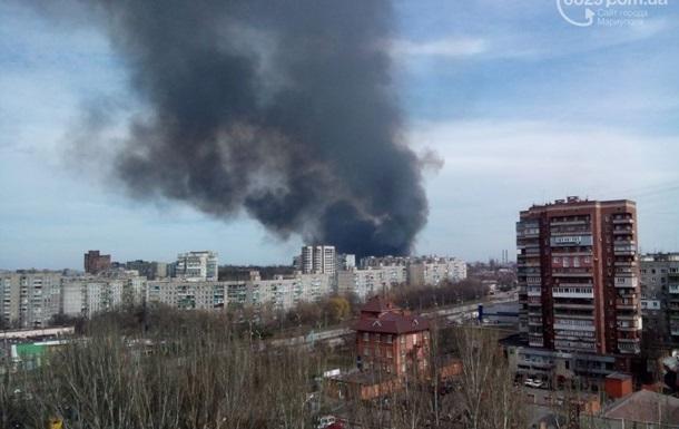 В центре Мариуполя пожар