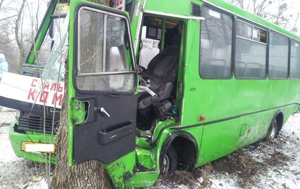 Под Харьковом автобус с людьми врезался в дерево