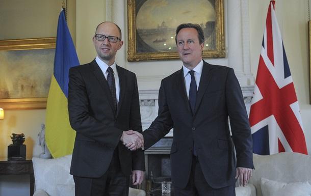 Яценюк поблагодарил Кэмерона за поддержку Украины