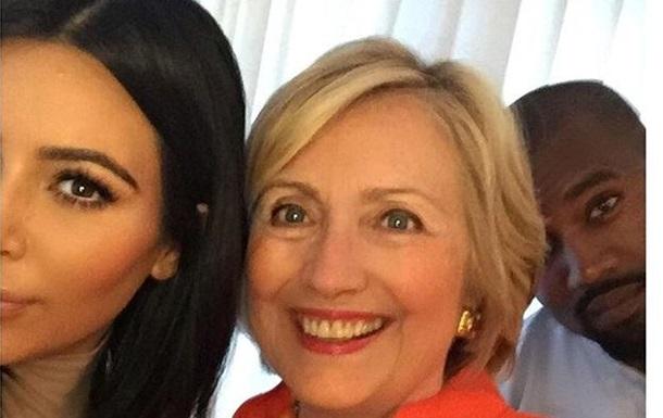 Ким Кардашьян и Канье Уэст сделали селфи с Хиллари Клинтон