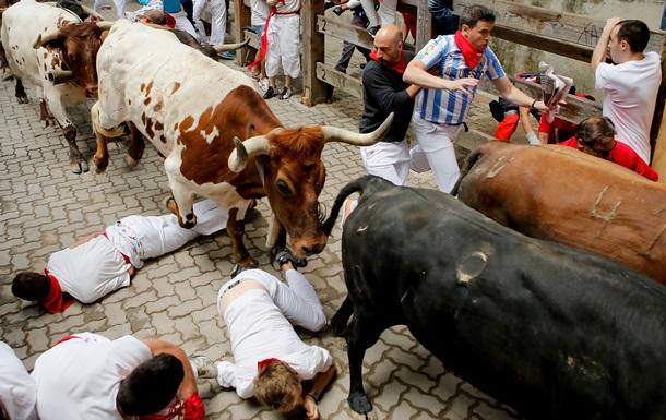Во время корриды бык снял с мужчины трусы.