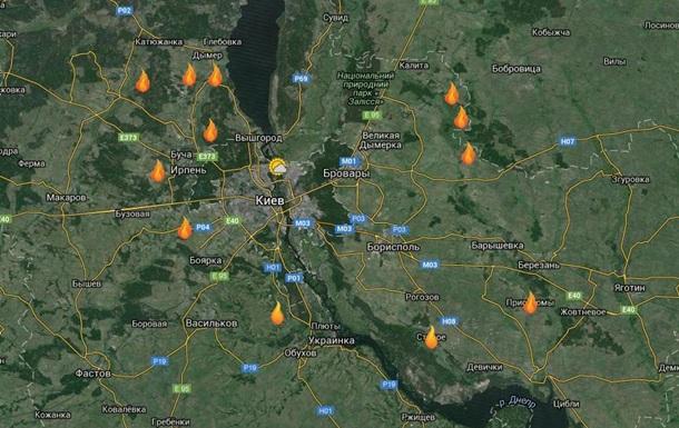 Опубликована карта горящих под Киевом торфяников