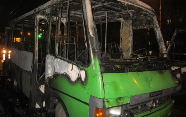 В Полтаве в автобус бросили коктейль Молотова