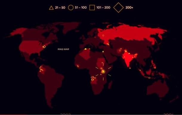 В Сети появилось видео с картой терактов за 15 лет