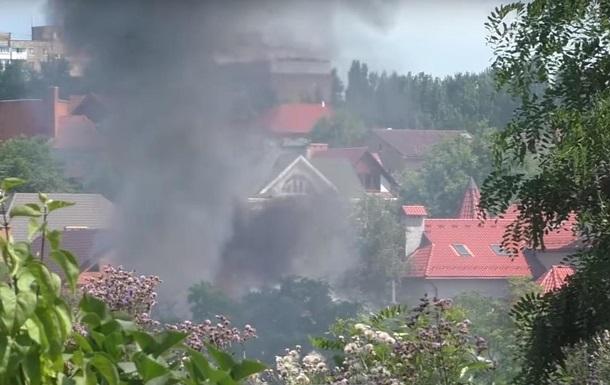 В центре Донецка горел элитный особняк