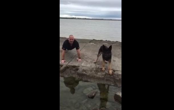 Видео отжиманий собаки и дрессировщика взорвало сеть