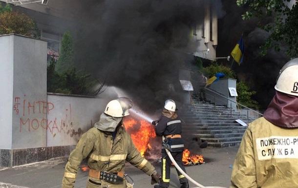 ВКиеве потушили пожар вмногоэтажном здании канала «Интер»