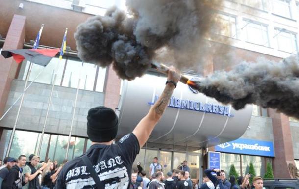 Азовцы  снова протестовали под  Киевгорстроем