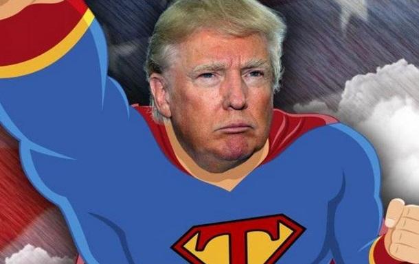 Трамп в образе Супермена  пролетел  по Таймс-сквер