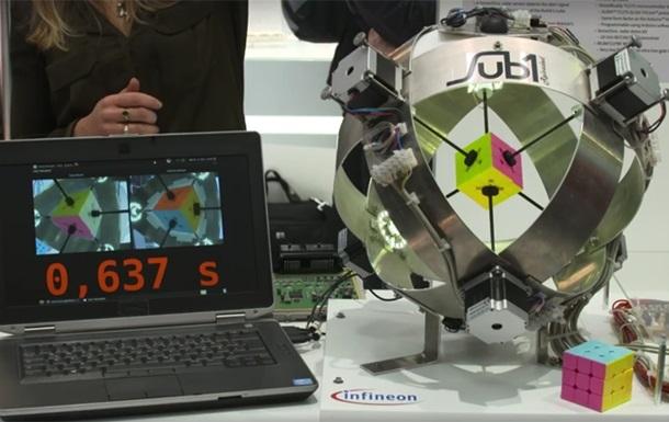Робот собрал кубик Рубика меньше чем за 0,637 секунды