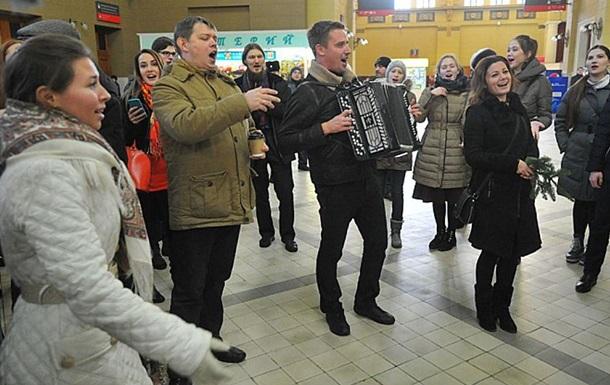 Флешмоб в Москве на Киевском вокзале