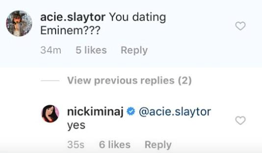 Ники Минаж сообщила оботношениях сЭминемом