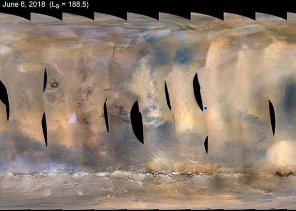 Глобальная карта пылевого шторма на Марсе / NASA