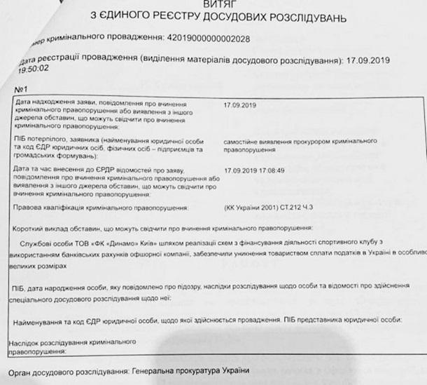 ГПУ открыла уголовное дело против «Динамо», - СМИ