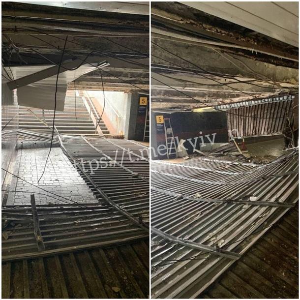 В подземном переходе в центре Киева обвалился потолок