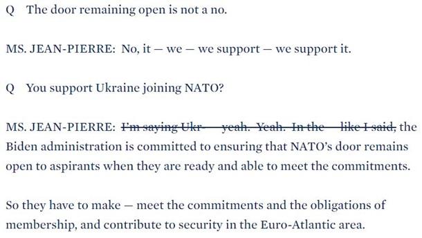 В США откорректировали стенограмму о членстве Украины в НАТО