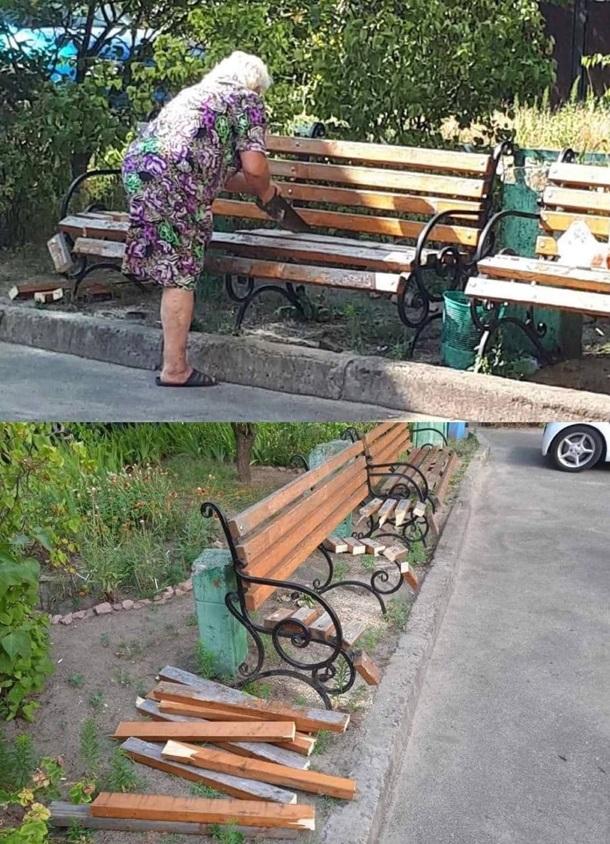 У Києві старенька розпиляла лавочку під будинком, аби під вікнами не шуміли  - Korrespondent.net