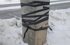 Працівники  полагодили  тріснуту електроопору пластиром