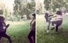 В парке Киева девушки устроили  бой без правил