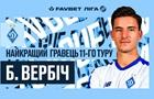 Вербич признан лучшим игроком 11-го тура чемпионата Украины