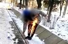 Опубликовано видео самосожжения в Херсоне. 18+