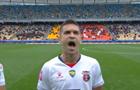 Игрок ФК Верес эмоционально исполнил гимн Украины перед матчем с Шахтером